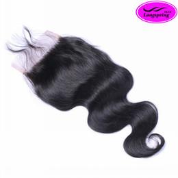 18 black hair en Ligne-Destockage! Fermeture dentelle fermeture Top Lace Natural Black 8A brésilienne péruvienne Cheveux Malaysian Indian Cheveux Dentelle Taille 4 * 4