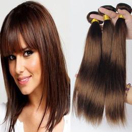 Grade 7A! # 4 Middium Brun Brésilien Remy Cheveux Soyeux Straight Weave 3Pcs Lot Chocolat Mocha Brazilian Straight Cheveux Humains Bundles à partir de grade 7a vierges faisceaux de cheveux bresilien fournisseurs