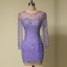 Fashion Short Light Purple Cocktail Dresses Long Sleeve Jewel Neck Rhinestones Tulle Sheath Mini Party Gowns Custom Made