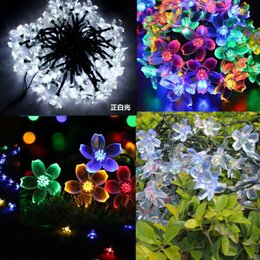 Wholesale Outdoor Solar panel Powered Colors M peach floweres Light LED String Fairy Automatic Garden Waterproof Christmas Party Decoration Lamp