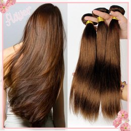 Argentina # 4 Middium Brown Virgen brasileña Remy pelo Silky Straight Tejido 3Pcs Lot Chocolate Mocha brasileño cabello humano recto Bundles Extensiones cheap brown straight brazilian hair weave Suministro