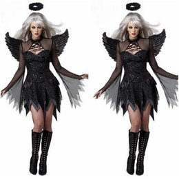 Wholesale Adult Costume Sexy Black Angel Wings Deguisement Sexy Movie Cosplay Costumes Halloween Costumes Women Cosplay Devil DisfrazCE374