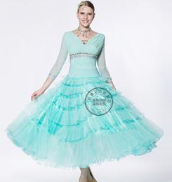 long sleeve green ballroom Waltz tango salsa Quick step competition dress one shoulder cutout