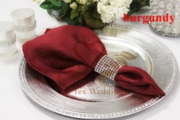Nice Looking Burgundy Color Satin Table Napkin For Weddinng Party Decoration