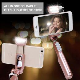 Wireless Bluetooth Wing Mirror Extendable Handheld Fold Self-portrait Selfie Sticks Holder Monopod With LED Flash Fill Light Selfie Monopod