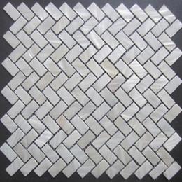 Wholesale New Herringbone mosaic tile mother of pearl shell mosaic tiles shell mosaics floor tiles background wall kitchen backsplash tiles