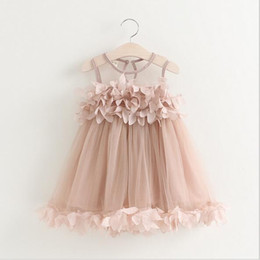 Wholesale 2016 Kids Girls Lace D Flower Dresses Baby Girl Princess tutu Dress Girl Summer Mesh Party Dress Babies Clothing