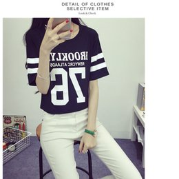 Wholesale women t shirt Number letters printed baseball t shirt black white tees
