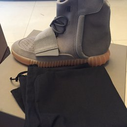 Wholesale 2016 gum light grey boost Gum with original box Glow In The Dark Kanye West Shoes leather suede Basketball Shoes Sneakers