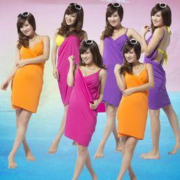 Wholesale Sling Swim Wear - new fashion hot sale Swimming wear for women microfiber dress magic beach towel sling creative wearable bath towel