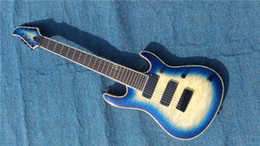 The Customzied 7-String Navy Blue Electric Guitar with Ebony Fretboard,Flame Maple Veneer,Neck-thru-body Design,Can be Changed