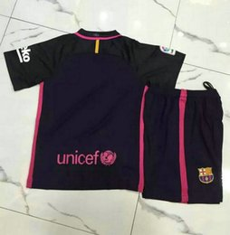 Wholesale _ barcelona away kids soccer jerseys customzied name number top quality soccer uniforms football shirts shorts