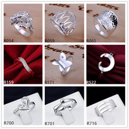 sterling silver plated ring 10 pieces a lot mixed style EMR6,brand new burst models plate 925 silver ring
