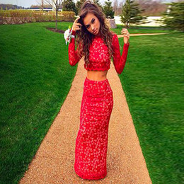 Red Two Pieces Evening Dresses 2016 Lace Long Sleeve Sexy Backless Floor Length Party Prom Gowns