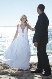 Chiffon Beach Wedding Dresses Spaghetti Straps Cut Out Plunging V Neck Summer Destination Wedding Dress Flowy Bridal Dresses