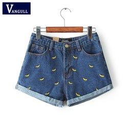 Wholesale Women Summer Banana Flower Embroidery Cotton Denim Shorts curling plus size casual female waist Jeans Shorts