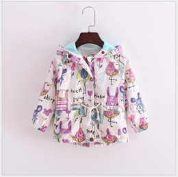 Retail 2016 New Autumn Cute Baby Girl Coat Animals Printing Cartoon Graffiti Hooded Zipper Girls Jacket Long Sleeve Toddler Girl Outwear