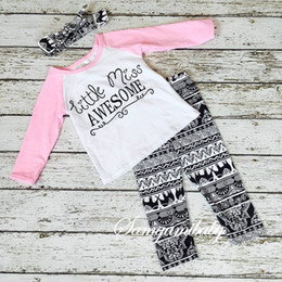 Wholesale Ins children autumn clothing sets european style girl long sleeve t shirt long pants head band three piece sets kids clothes suits