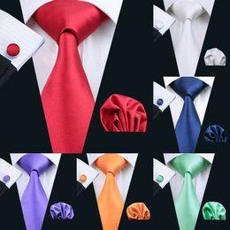 20Color Solid Mens Tie Set Classic Silk Jacquard Woven Wholesale Necktie Men's Tie Set Hanky Cufflinks