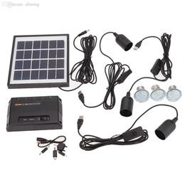 Оптовая Кемпинг Рыбалка Тропинка Ourdoor свет 3 светодиодные лампы USB 5V сотовый мобильный телефон зарядное устройство Главная Система Kit с 4W Солнечные группы от Производители панели солнечных ячеек оптового