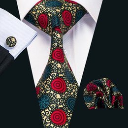 Mens Silk Printed Ties Red Yellow Blue Black Mix Color Stripes Business Wedding Tie Set Include Tie Cufflinks Hankerchief N-1231