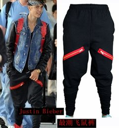 Wholesale Hot sale Justin Bieber men s clothing New zipper feet flying pants plus size trousers stage singer costumes