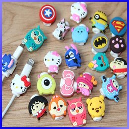 Wholesale Cartoon Minions Silicone Cable Saver Cute D Cartoon Kitty Cat Stitch Captain America Superman Lightning Cable Saver Protect For iPhone Plus
