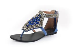 Wholesale NEW Brand Designer Summer Rome Vintage Flip Flops Fashion Women String Bead Flat Sandals Women Slippers Zip Big Size
