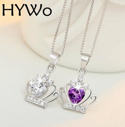 Fashion Women Luxury White purple Crystal Pendant (without chain) Queen Crown Princess Dream Modern Pendant Silver Plated Jewelry Jewelry