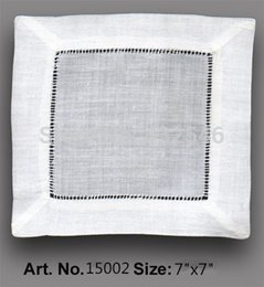 Wholesale HomeTextiles American Style120PCS White Linen hemstitched Cocktail Napkin7 quot x7 quot Table Napkin beautiful Decoration make guests feel welcome