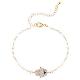 Wholesale 10pcs Shiny CZ Hippie Hamsa Fatima Hand Evil Eyes Palm Bracelet Charm Magic Captivate Allure for Women Handmade Jewelry Gift