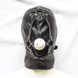 Traje de cuero completo en venta-Traje de fiesta de cuero de la máscara de la capucha con la boca Gag Bondage fetiche de sujeción GIMP # R501