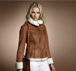 Wholesale new fashion winter women s compound berber fleece fur luxury motorcycle jacket suede fabric outerwear coats for women