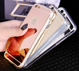 Wholesale Luxury Mirror Electroplating Soft Clear TPU Case Cover For iPhone S Plus S SE Samsung Galaxy S7 S6 Edge Note Free Ship MOQ
