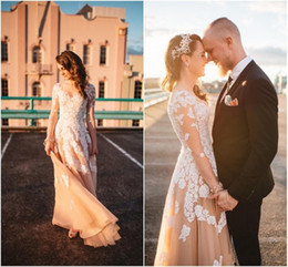 New Cheap Vintage Blush Country Wedding Dresses V Neck Long Sleeves Illusion White Lace Applique Full Length Tulle Plus Size Bridal Gowns
