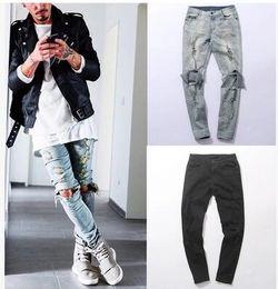 clothing designer pants Distressed Skinny Ripped Jeans Mens Big Hole On Knee Swag Streetwear Clothes Destroy Denim Pants