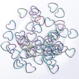 Pendientes del pezón en Línea-30PCS de la mezcla de plata negros de corazón coloridos pendientes de la forma de la nariz del labio El trago joyería Pezón del aro del anillo del acero inoxidable de la perforación del cuerpo