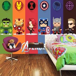 3D Avengers Wallpaper Hulk Badge Wall Mural Photo Wallpaper Cartoon Interior decoration Boy Kids Bedroom Living room self adhesive wallpaper