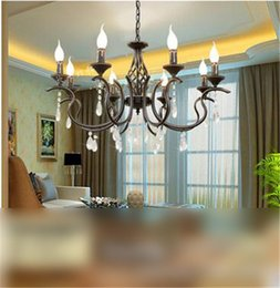 LRE042-Mediterranean Style Glass Iron Chandelier for Home Hotel Restaurant Decoration Vintage American Country Candle Pendant Lamps