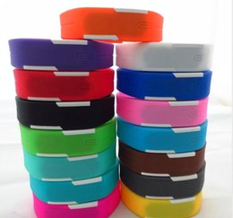 Wholesale-600pcs lot Mix 14colours Sports led Digital Display touch screen watches Rubber belt silicone bracelets Wrist watches LT013