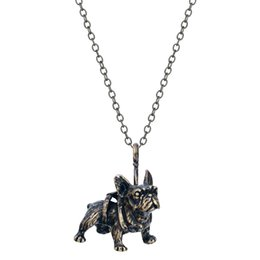 1pcs New Design Fashion Realistic French Bulldog Necklaces Miniature Animal Shaped Pendant Necklace for Teen Girls Women