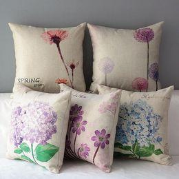 45cm Purple Blue Hydrangea macrophylla Cotton Linen Fabric Throw Pillow 18inch Handmade New Home Office Bedroom Decoration Sofa Back Cushion