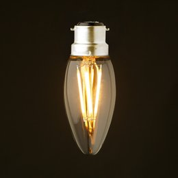 Wholesale 2W W W B22 Bayonet Base Retro LED Filament Bulb Warm Cool White VAC Chandelier Candle Lamps Dimmable