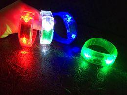 Wholesale Sound Sensor Activates Led - Voice Control Flash Hand Ring Sound Activated Sensor LED Flashing Bracelet LED Glowing Bracelet Luminous Led Wrist Strap Featival LED Toys