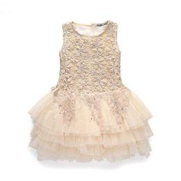 Wholesale baby clothes girls dress new Babys Kids clothes spring summer sleeveless cotton lace flowers bow belt girls princess tutu dress