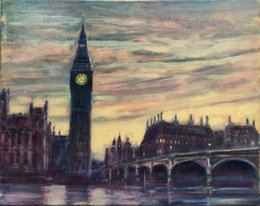 Wholesale Big Ben London England City VIEWS Pure Hand Painted abstract Art Oil Painting On Canvas any customized size accepted