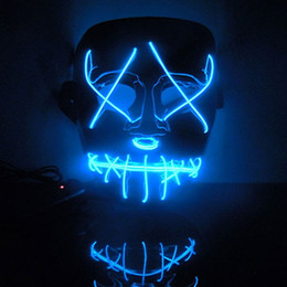 Free Shipping New Year Flash El Wire Led Glowing Beauty Christmas Party Mask Full Face Mask Hot Sale LYM03