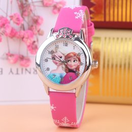 Best children Frozen Elsa Anna princess rhinestone cartoon watch Clever girl fashion casual Kid leather PU watches