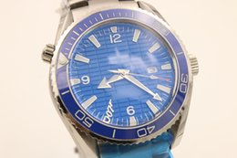 Wholesale Luxury Brand Men OM Auto Watch Stainless Band Blue Dial original clasp Sea Master Planet Ocean Watch Analog