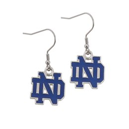 Wholesale Unique Alloy American University Notre Dame Logo Pendant Earrings Sport NCAA Team Logo Dangle Earrings Drop Shipping